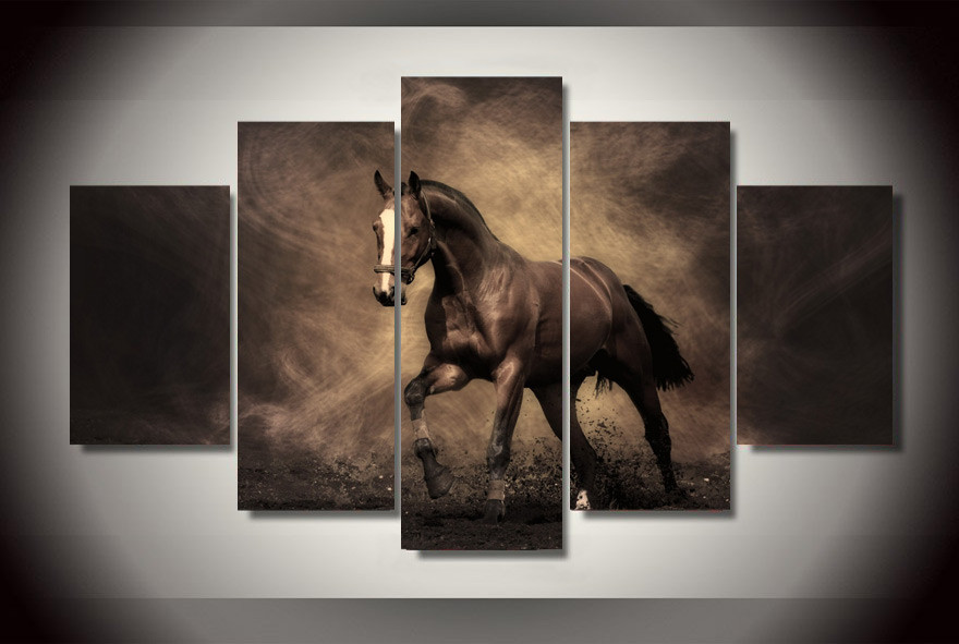 Framed Galloping Horse Sepia Horses Print Canvas Wall Art Horses ...