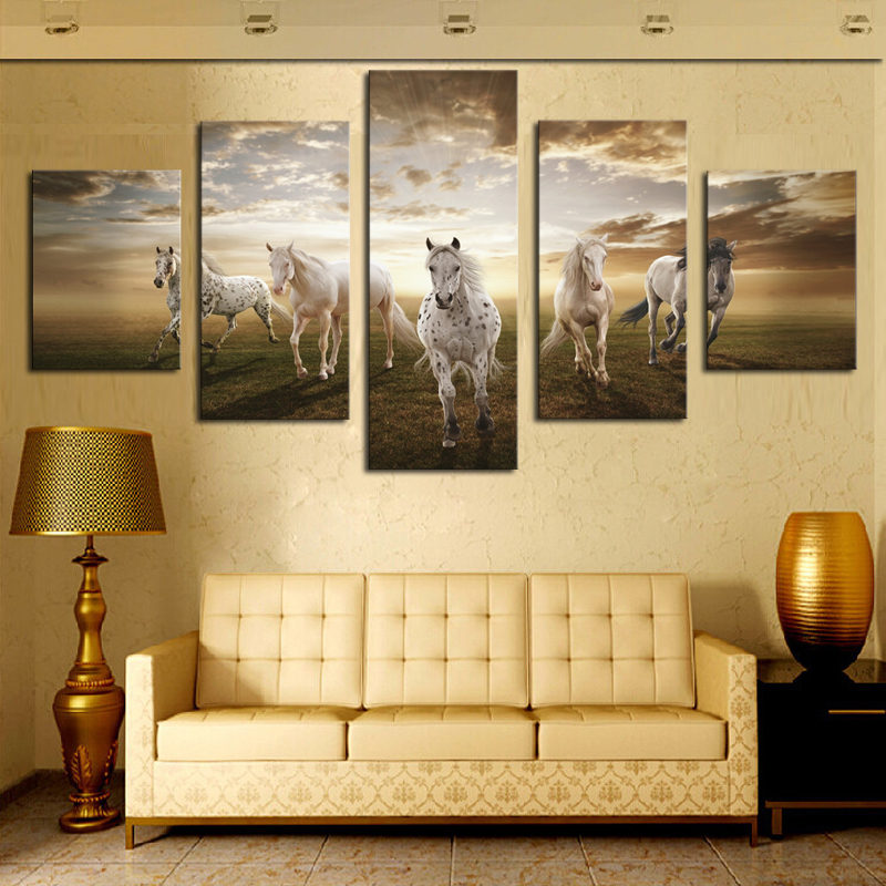 Framed Horse Canvas Art Print Wall Art Picture for Living Room Decor ...