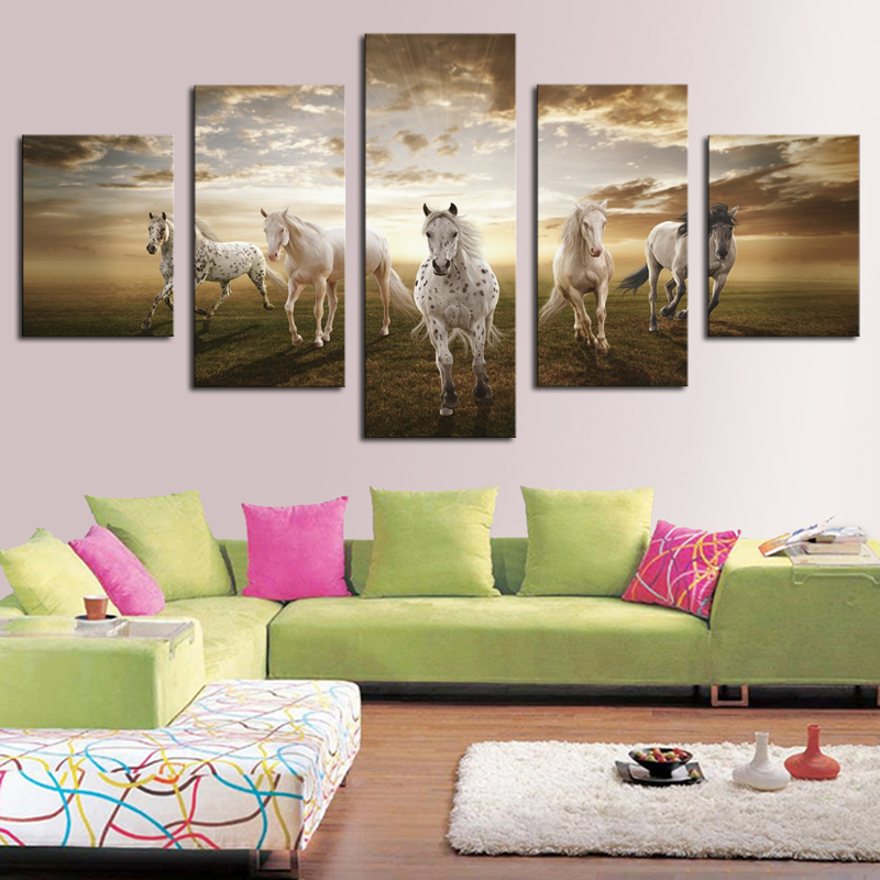 Framed horse canvas art print wall art picture for living room decor painting free shipping